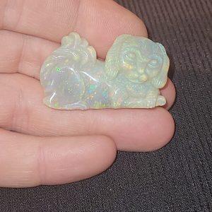 Opal Lambina Dog Carving